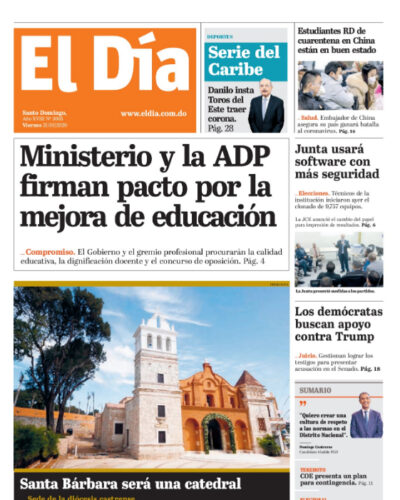 Portada Periódico El Día, Viernes 31 de Enero, 2019