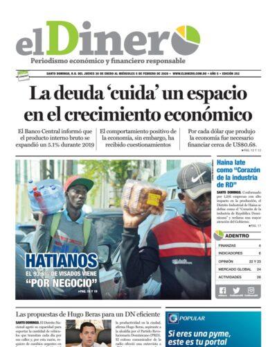 Portada Periódico El Dinero, Jueves 30 de Enero, 2019