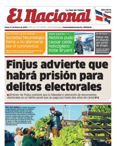 Portada Periódico El Nacional, Domingo 26 de Enero, 2019