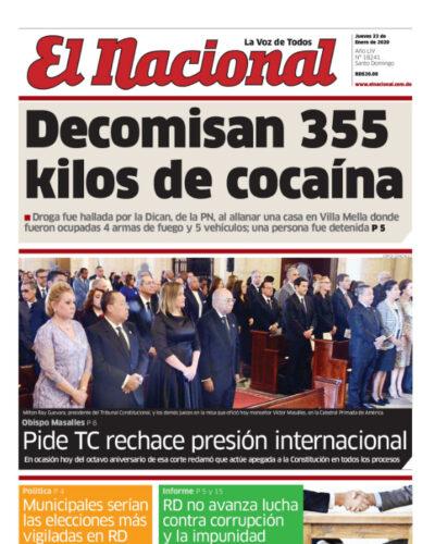 Portada Periódico El Nacional, Jueves 23 de Enero, 2019