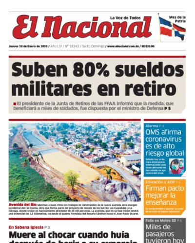Portada Periódico El Nacional, Jueves 30 de Enero, 2019