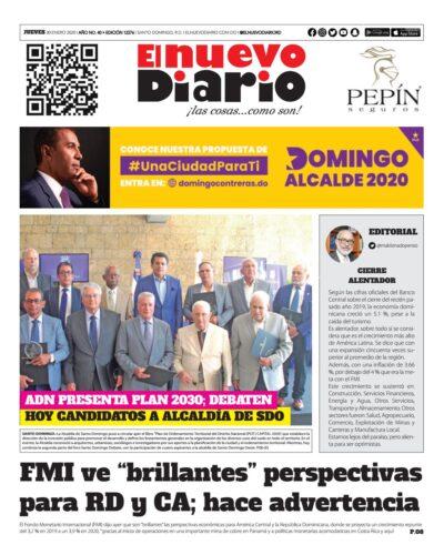 Portada Periódico El Nuevo Diario, Jueves 30 de Enero, 2019
