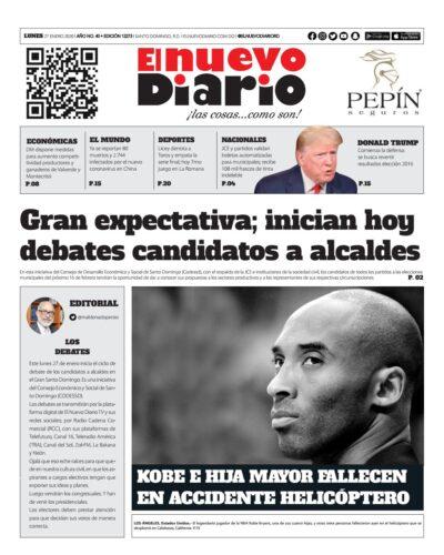 Portada Periódico El Nuevo Diario, Lunes 27 de Enero, 2019