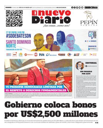 Portada Periódico El Nuevo Diario, Viernes 24 de Enero, 2019