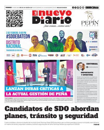Portada Periódico El Nuevo Diario, Viernes 31 de Enero, 2019