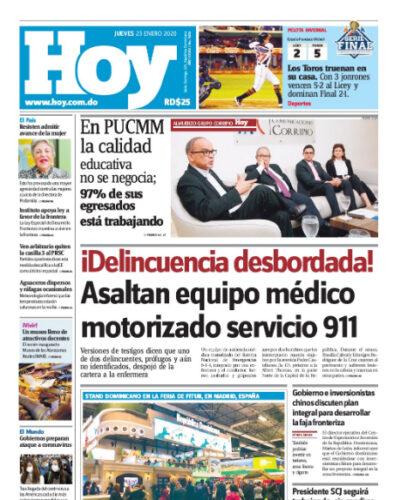 Portada Periódico Hoy, Jueves 23 de Enero, 2019