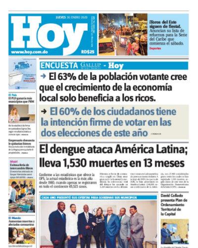 Portada Periódico Hoy, Jueves 30 de Enero, 2019