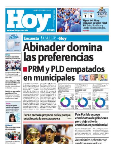 Portada Periódico Hoy, Lunes 27 de Enero, 2019