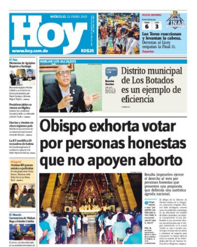 Portada Periódico Hoy, Miércoles 22 de Enero, 2019