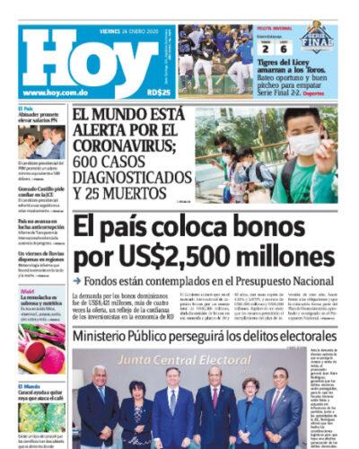 Portada Periódico Hoy, Viernes 24 de Enero, 2019