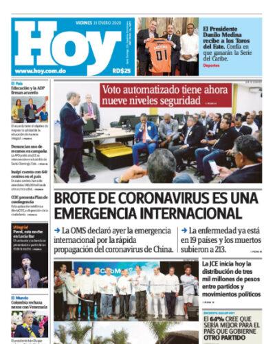 Portada Periódico Hoy, Viernes 31 de Enero, 2019