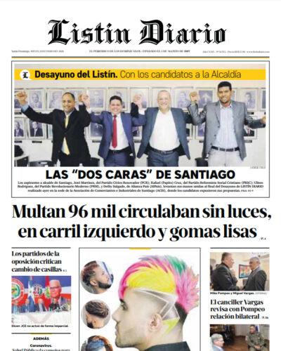 Portada Periódico Listín Diario, Jueves 23 de Enero, 2019