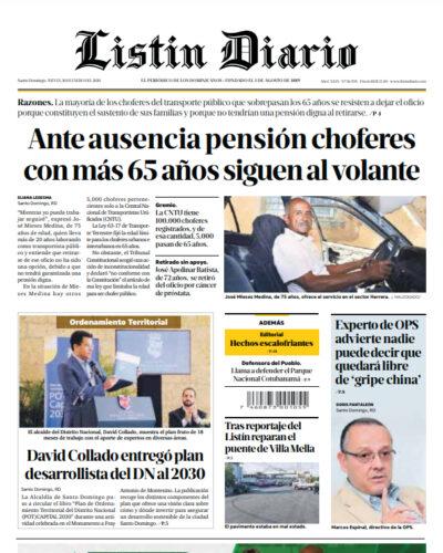 Portada Periódico Listín Diario, Jueves 30 de Enero, 2019