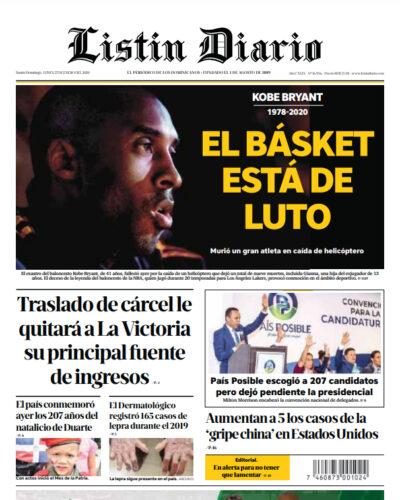 Portada Periódico Listín Diario, Lunes 27 de Enero, 2019