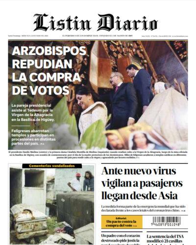 Portada Periódico Listín Diario, Miércoles 22 de Enero, 2019