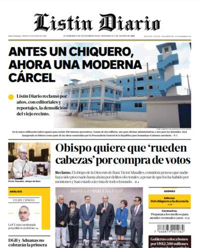 Portada Periódico Listín Diario, Viernes 24 de Enero, 2019