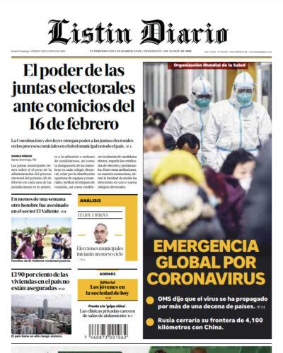 Portada Periódico Listín Diario, Viernes 31 de Enero, 2019