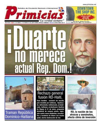 Portada Periódico Primicias, Lunes 27 de Enero, 2019