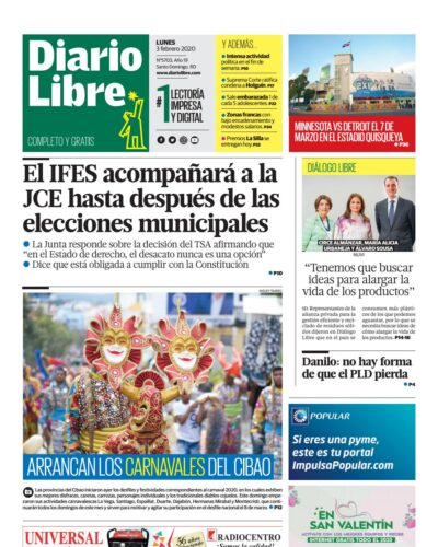 Portada Periódico Diario Libre, Lunes 03 de Febrero, 2019