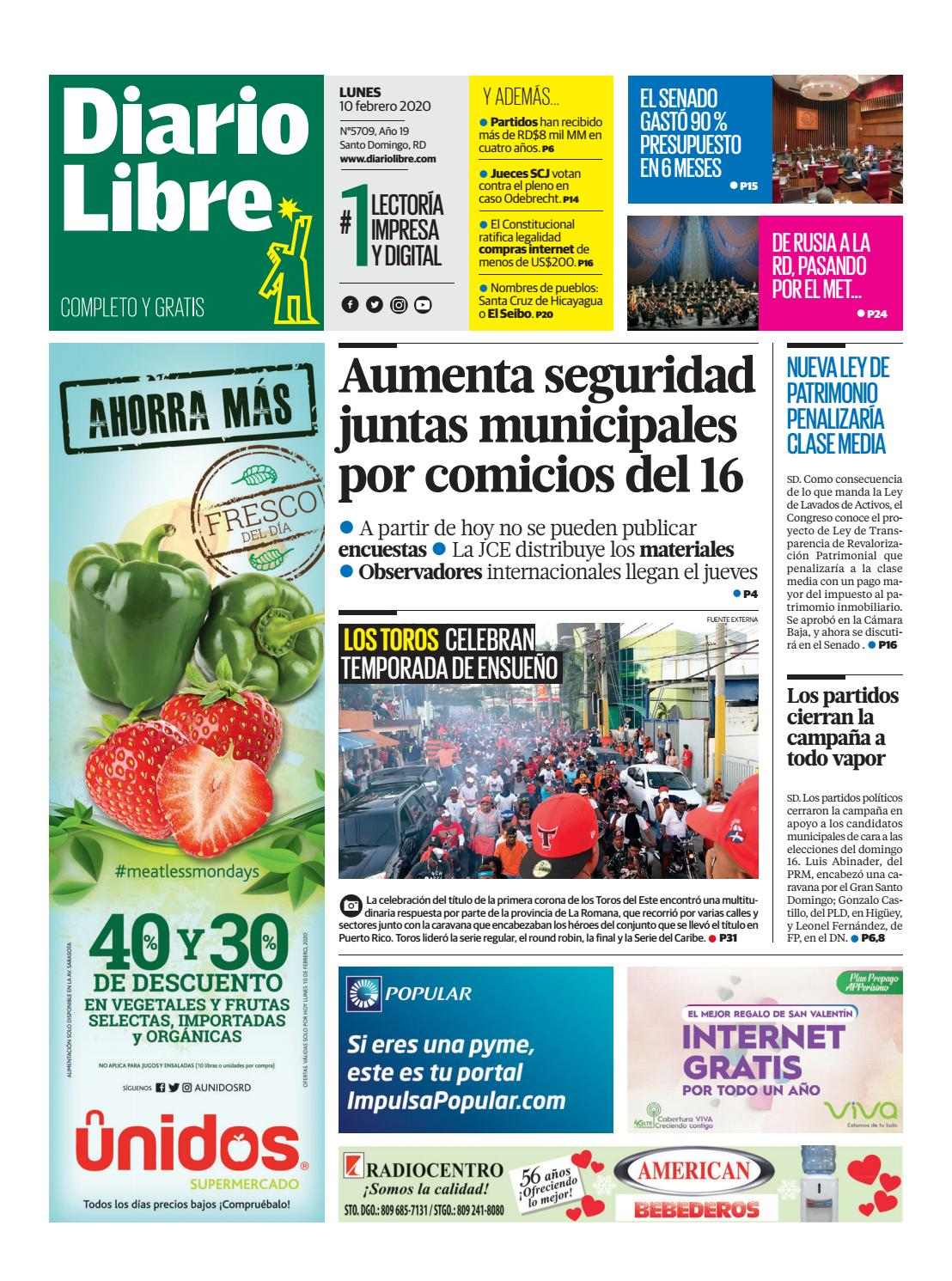 Portada Periódico Diario Libre, Lunes 10 de Febrero, 2019