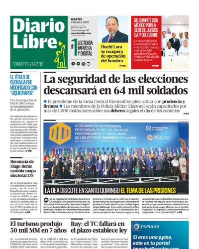 Portada Periódico Diario Libre, Martes 04 de Febrero, 2019