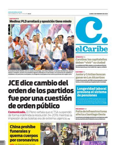 Portada Periódico El Caribe, Lunes 03 de Febrero, 2019