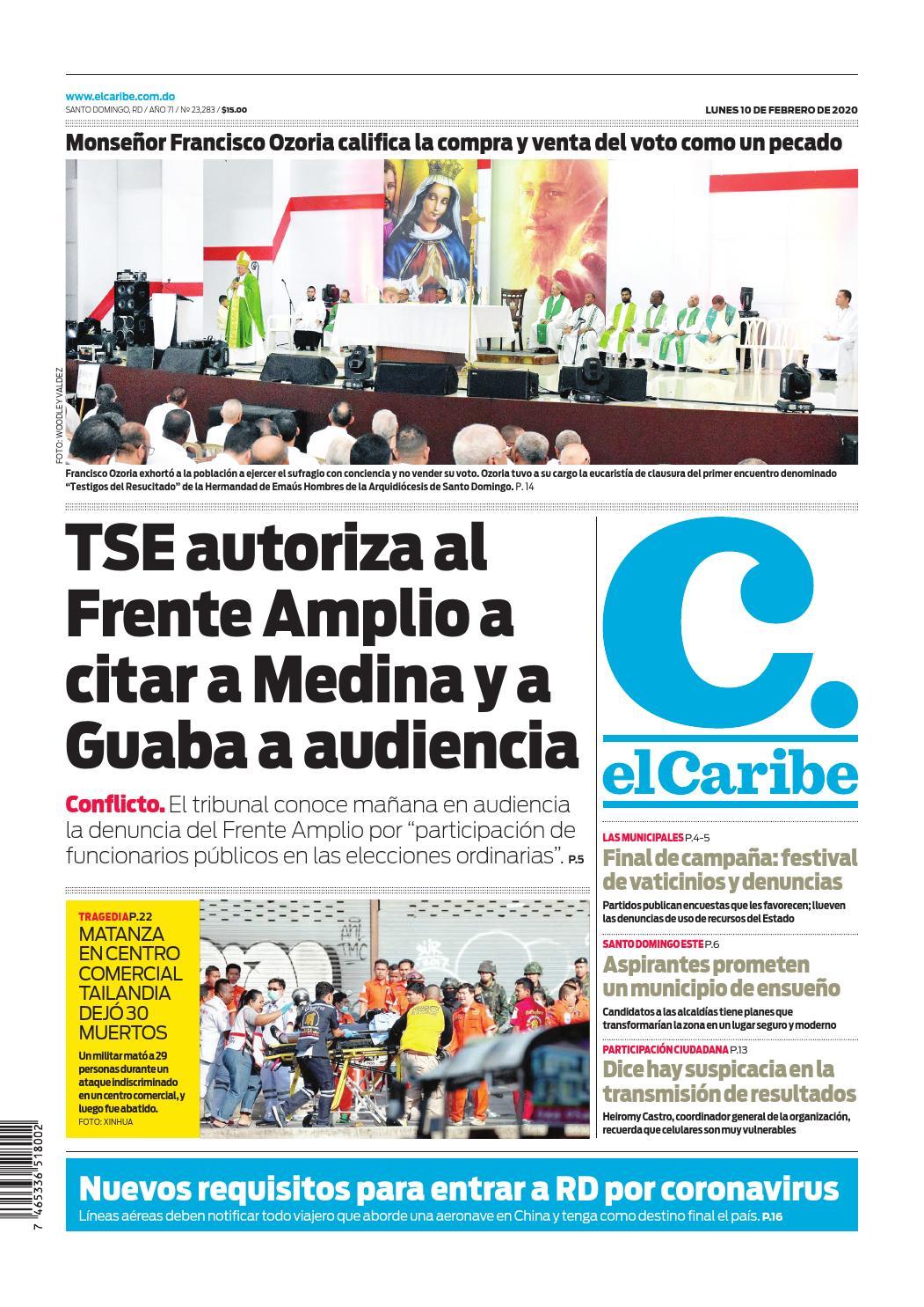Portada Periódico El Caribe, Lunes 10 de Febrero, 2019