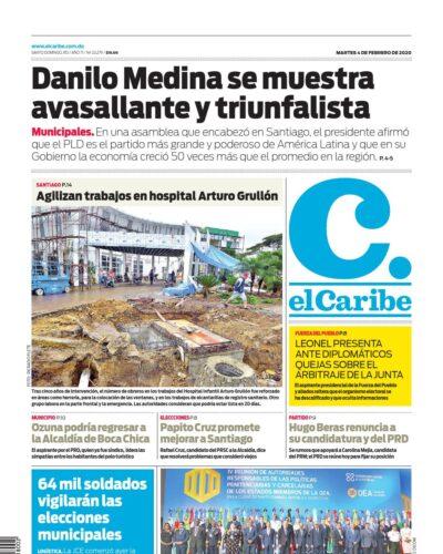 Portada Periódico El Caribe, Martes 04 de Febrero, 2019
