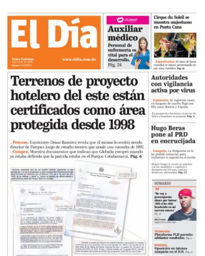 Portada Periódico El Día, Lunes 03 de Febrero, 2019