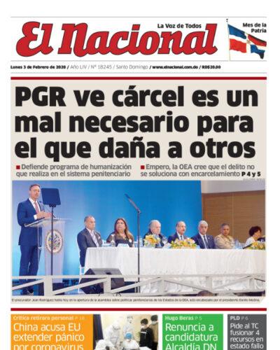 Portada Periódico El Nacional, Lunes 03 de Febrero, 2019