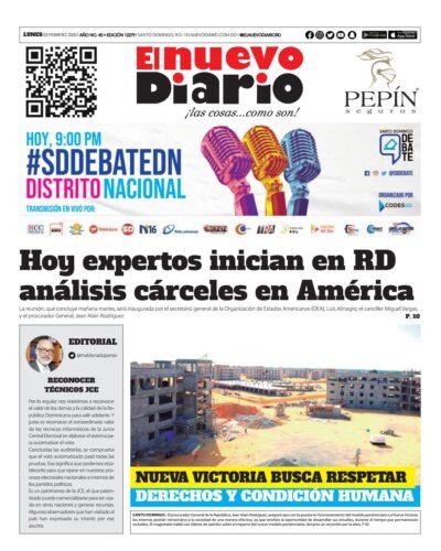 Portada Periódico El Nuevo Diario, Lunes 03 de Febrero, 2019