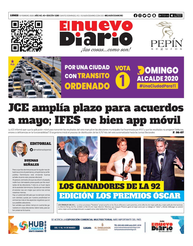 Portada Periódico El Nuevo Diario, Lunes 10 de Febrero, 2019