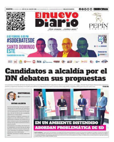 Portada Periódico El Nuevo Diario, Martes 04 de Febrero, 2019
