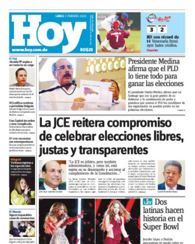 Portada Periódico Hoy, Lunes 03 de Febrero, 2019