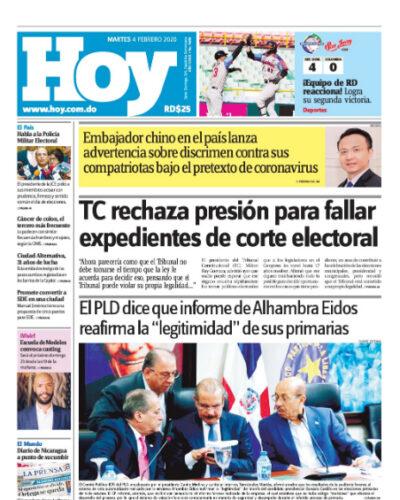 Portada Periódico Hoy, Martes 04 de Febrero, 2019