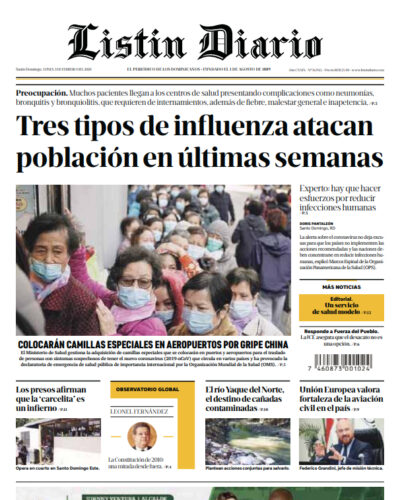Portada Periódico Listín Diario, Lunes 03 de Febrero, 2019