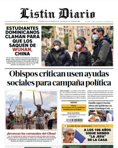 Portada Periódico Listín Diario, Lunes 10 de Febrero, 2019