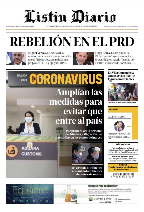 Portada Periódico Listín Diario, Martes 04 de Febrero, 2019