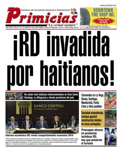 Portada Periódico Primicias, Lunes 03 de Febrero, 2019