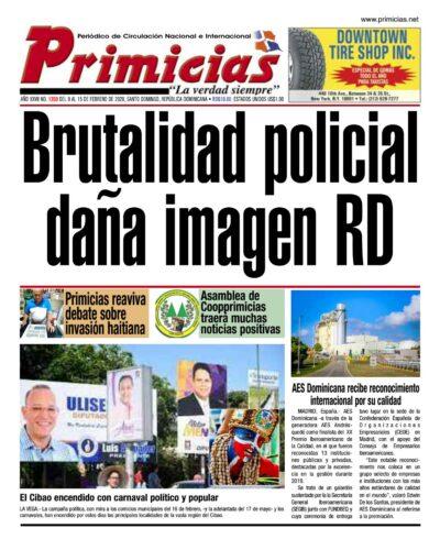 Portada Periódico Primicias, Lunes 10 de Febrero, 2019