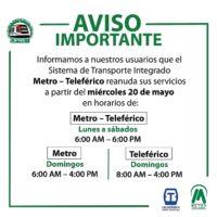 Metro, OMSA y Teleférico se preparan para reanudar operaciones mañana