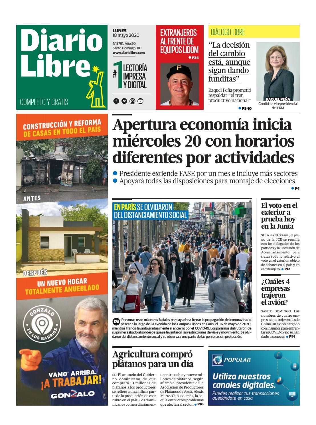 Portada Periódico Diario Libre, Lunes 18 de Mayo, 2020