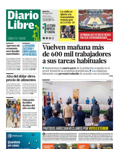 Portada Periódico Diario Libre, Martes 19 de Mayo, 2020