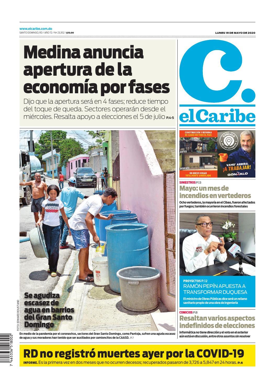 Portada Periódico El Caribe, Lunes 18 de Mayo, 2020