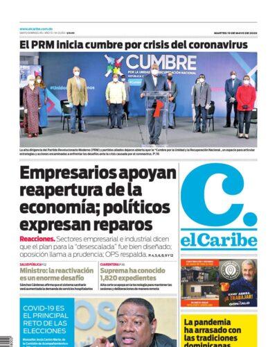 Portada Periódico El Caribe, Martes 19 de Mayo, 2020
