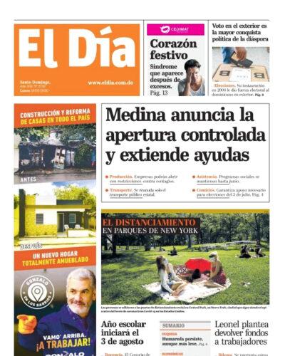 Portada Periódico El Día, Lunes 18 de Mayo, 2020