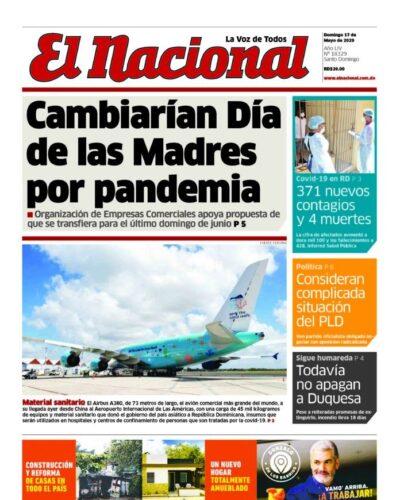 Portada Periódico El Nacional, Domingo 17 de Mayo, 2020