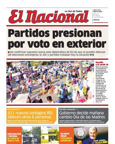 Portada Periódico El Nacional, Lunes 18 de Mayo, 2020