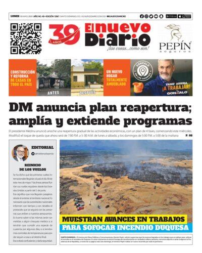 Portada Periódico El Nuevo Diario, Lunes 18 de Mayo, 2020