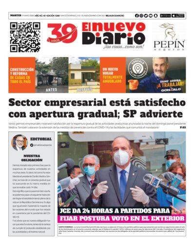 Portada Periódico El Nuevo Diario, Martes 19 de Mayo, 2020